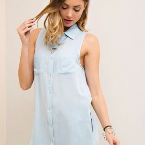 Baby Blue Woven Tunic High Low Blouse💙🌸🦋